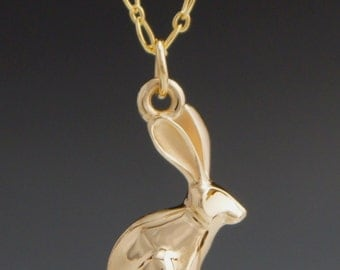 14 kt gold  jack rabbit  pendant