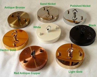8 colours, DIY Ceiling Canopy Mounting Kit max load 5kg - Hook for Lighting, Lamp, Pendant, Ornament, Shop Window Display, Hanging Tool
