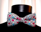 Psihedelic Bowtie-Colorful bow tie-Men's bow tie Groomsman bow tie-Groom and Pocket Square gift