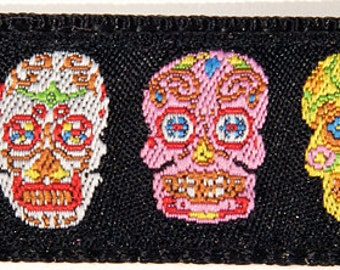 "Colorful Sugar Skulls Day of the Dead Dia de los Muertos 5/8"" Wide dog Collar--Medium, Small"