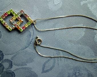 Vintage Necklace Pendant Rhinestones Pastel Colors Blue Green Pink Yellow Diamond Shaped