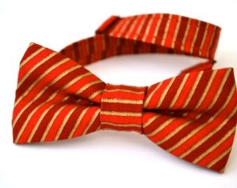 Boys Bowtie- Red, Maroon and Gold Stripe Ages 2-10