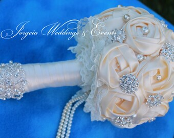 Bridal Bouquet Fabric Flower / Lace/ Brooch/ pearl/.FREE  Groom's Boutonniere and Throw Bouquet