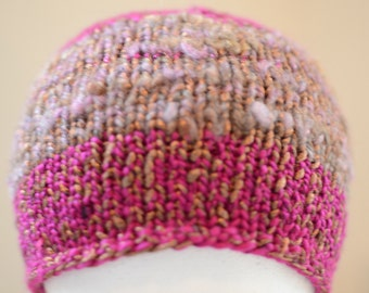 Pink and Gold Striped Knit Winter Hat