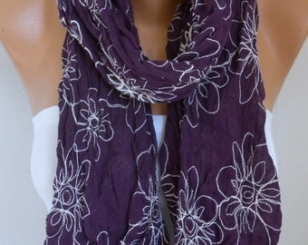 Dark Purple Floral Embroidered Cotton Scarf, Teacher Gift,Pareo,Beach Wrap,Shawl Cowl Gift For Her Mom Women's Fashion Accessories Birthday