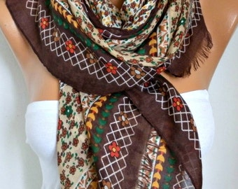 Brown Floral Cotton Scarf, Soft, Shawl,fall winter Scarf, Cowl Oversize Wrap Gift Ideas For Her Women Fashion Accessories, Teacher Gift