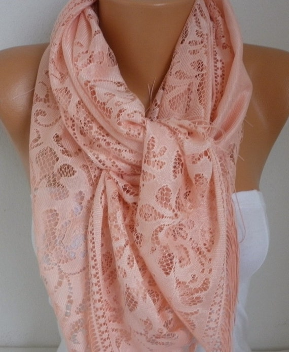 Salmon Tulle Scarf,Summer Scarf, Teacher Gift Cowl Bridesmaid Bridal Accessories, Gift Ideas for Her Women Fashion Accessories