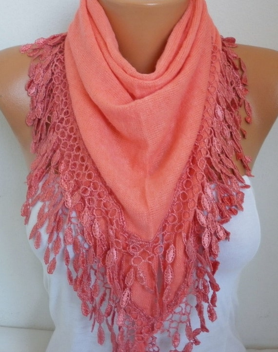 Coral Knitted Scarf, Winter Scarf, Shawl Lace Oversized Bridesmaid Bridal Accessories Gift Ideas For Her Women Fashion Accessories