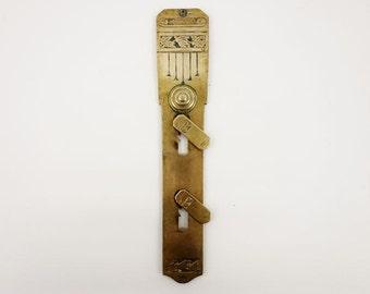 Vintage Art Nouveau Flowered Brass Door Keyhole Cover Escutcheon with Covers