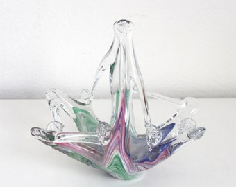 Murano Art Glass Basket Style Candy Dish in Pink Blue and Green