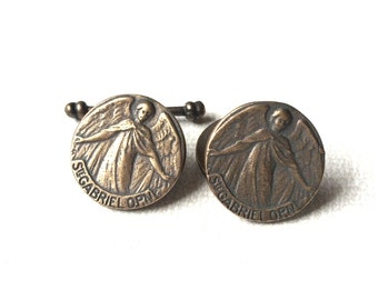 St Gabriel Cuff Links - Men's Cuff Links - Bronze or Sterling Silver Cuff Links - Religious Cuff Links