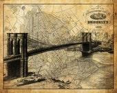 Brooklyn New York City Street Map Vintage Sepia Grunge Print Poster Brooklyn Bridge
