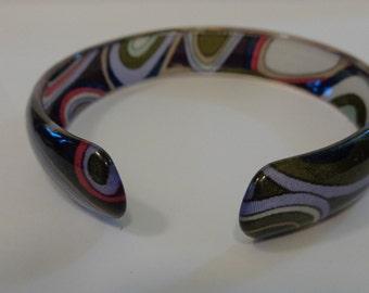 Mod Pattern Bracelet Vinyl or Nylon High Gloss Graphic Stiff Fabric Cuff