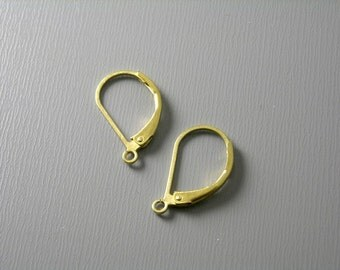 Grade AA 17mm Raw Brass Hoop Earrings with Lever back - 20 pcs