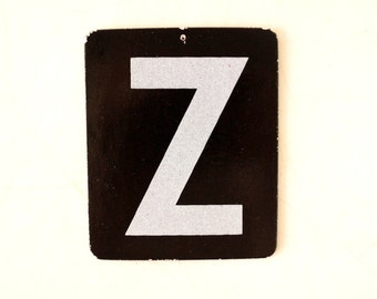 "Vintage Alphabet Letter ""Z"" Card with Textured Surface in Black and White (c.1950s) - Ephemera, Altered Art, Scrapbook, or Journal Supply"
