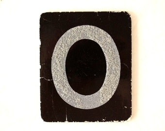 """Vintage Alphabet Letter """"O"""" Card with Textured Surface in Black and White (c.1950s) - Ephemera, Altered Art, Scrapbook, or Journal Supply"""