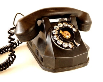 Vintage Rotary Monophone Telephone in Black Bakelite by Automatic Electric (c.1940s) - Mid-Century Home Decor, Photo Prop, Collectible