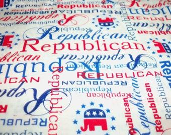 Republican Fabric Vote Campaign Red White Blue Patriotic Fat Quarter New BTFQ