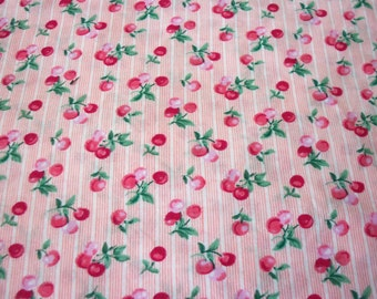 Cherry Stripe Fabric Pink Background Sweet Cherries By The Yard
