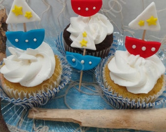 12 Edible Sailor boats, Cupcake or Decorations, made with vanilla fondant you choose the colors pink, blue, yellow or mix and match