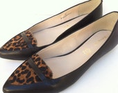 New Leopard print calf hair and black leather pointy toe flats 10