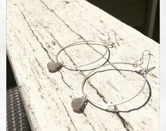 Hoop Life- Braided Sterling Silver Hoops with Labradorite Tear Drop Stones