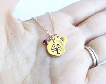 Gold Etched Family Tree Necklace with initial and birthstone on 14k gold filled chain -- Mothers Grandmothers