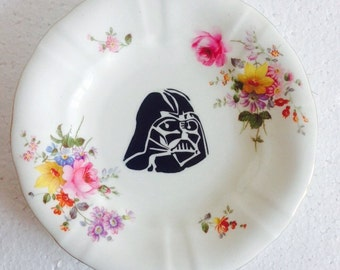 Star Wars - Pink Roses Yellow Flowers - Darth Vader plate - Wall Display - China Tea Plate, Unique Gift - Plate Collage