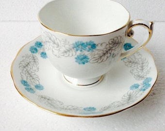 Turquoise and Grey Teacup and Saucer Set Vintage English bone china by Roslyn Made in England Lovely Gift for Afternoon Tea Party Teaset