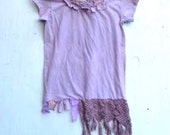 SALE rustic shabby violet lilac lavender purple soft boho vintage lace upcycled tattered gypsy hand dyed tee shirt
