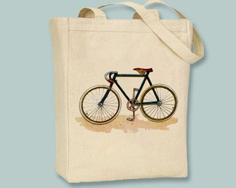 Great Vintage Bicycle illustration Canvas Tote -- Selection of sizes available