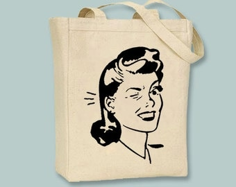 Retro Vintage Woman Winking Illustration Tote - Selection of  sizes and in ANY image color