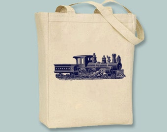Vintage Toy Train Canvas Tote - Selection of  sizes and image colors available