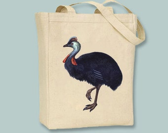 Vintage Male Ostrich Illustration Canvas Tote -- Selection of sizes available