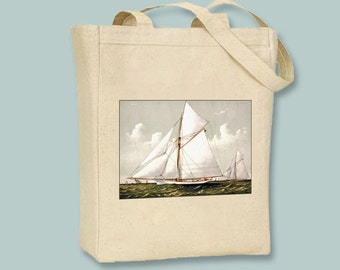Beautiful Vintage Sailboat Natural or Black Canvas Tote - Selection of sizes available