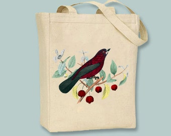 Red bird on Berry Branch Vintage Illustration transferred onto Canvas Tote -- Selection of sizes available