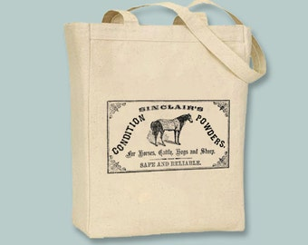 Sinclair's Livestock Conditon Powder Vintage Horse Black or Natural Canvas Tote  -- Selection of sizes available, image in ANY COLOR
