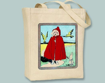 Vintage Little Red Riding Hood on Natural or Black Canvas Tote - Selection of sizes available
