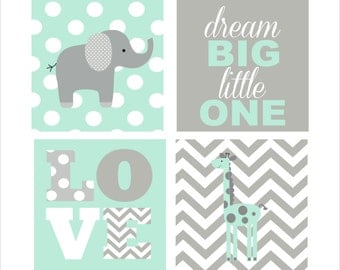 Nursery Wall Art, Elephant and Giraffe, Love, Canvas wall art- Set of four stretched canvas