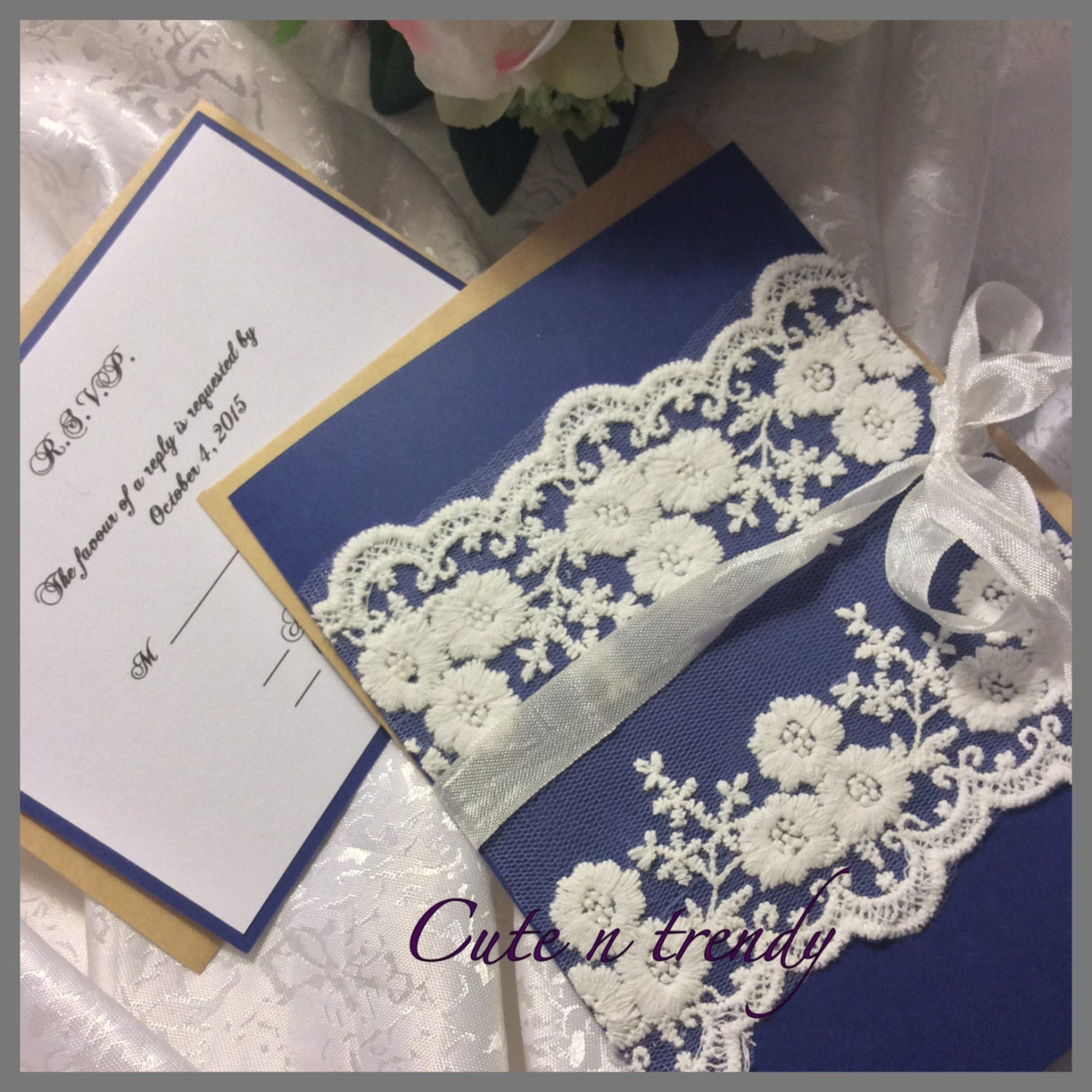 High End Elegant Wedding Invitations: Navy Blue High End Lace Wedding Invitation Suite