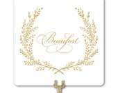 Custom Text Wedding Table Number Signs - Custom Text in Sweet Vintage Wreath - Vintage Style Custom Color Table Numbers