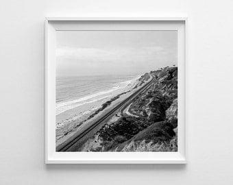 San Diego Beach Decor - Torrey Pines Black and White Film Photography - California Print, San Diego Art, Beach Art - Fits IKEA Ribba Frames