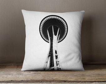 Seattle Pillow Space Needle Black and White Home Decor, Minimalist Decor, Pillow Cover, Pillowcase - 16x16, 18x18, or 20x20 Throw Pillow