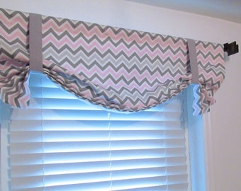 Zig Zag TIE UP Lined  Valance Pink Silver Grey White Chevron   Zoom Zoom Twill Bella Custom Sizing Available!