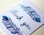 Blue Feather Thank you card Blank Note Card Stationery