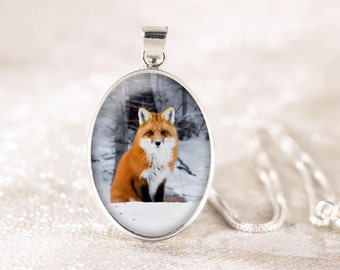 Sterling Silver Fox Necklace - Silver Fox Jewelry Pendant, Genuine Silver Animal Jewelry, Sitting Fox Pendant, Wildlife Photography Jewelry