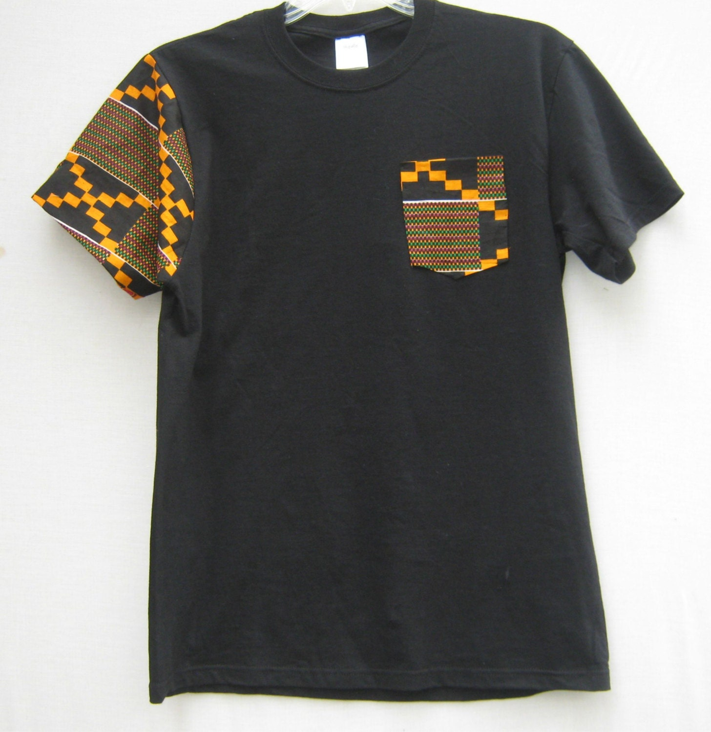 African print pocket tee t shirt african print tribal print for Print one t shirt