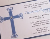 Regal Cross Boy Communion or Baptism Invitation