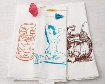 Kitchen Towel Set - Tropical Kitchen Towels - Tiki - Flour Sack Towel - Mermaid - Coconut - Tea Towels