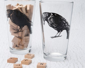 Pint Glass - Screen Printed Crow Glasses